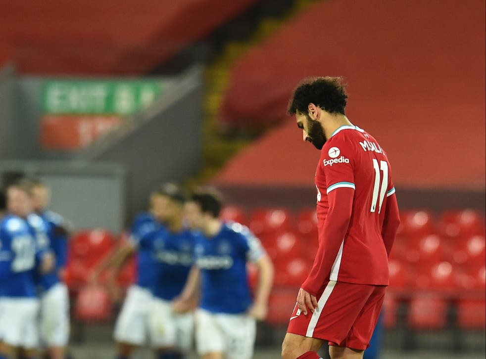 Mohamed Salah during Liverpool's derby defeat by Everton