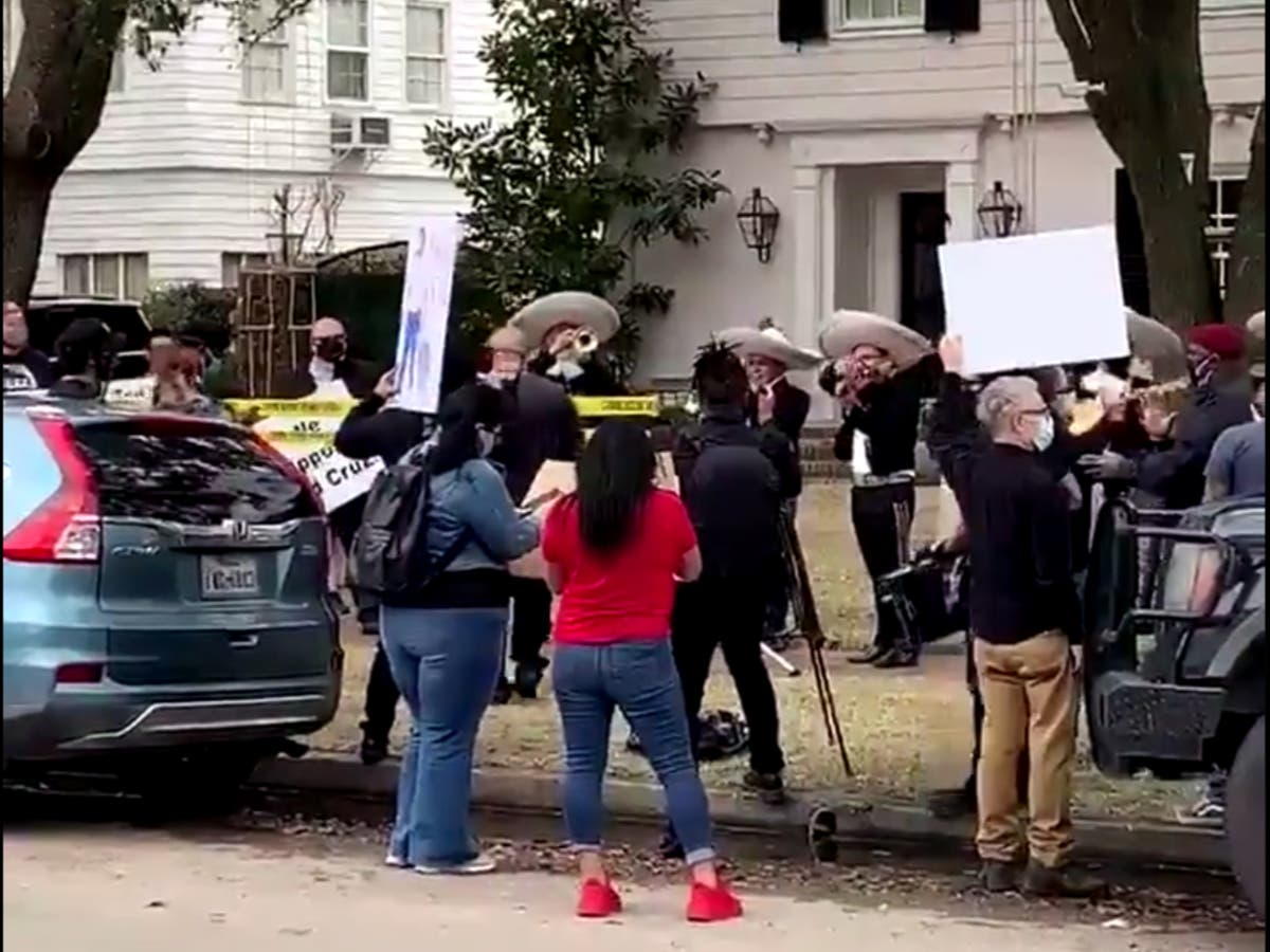 Mariachi band plays outside Ted Cruz's home following Cancun trip controversy - The Independent