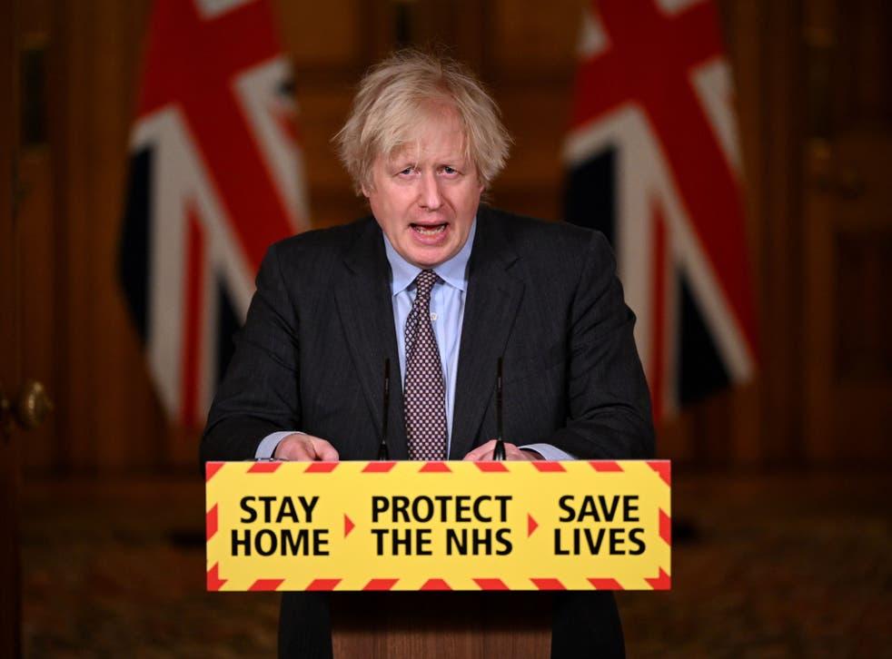 <p>Boris Johnson talking about the lockdown 'roadmap'</p>
