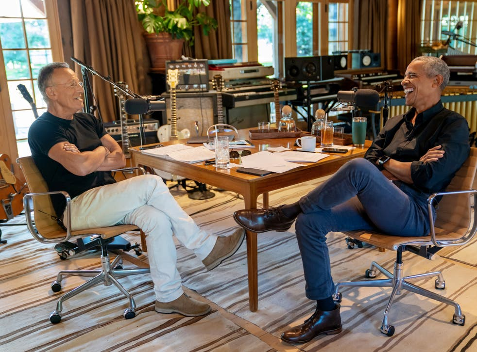 <p>Rock and roll legend Bruce Springsteen and Barack Obama during podcast</p>
