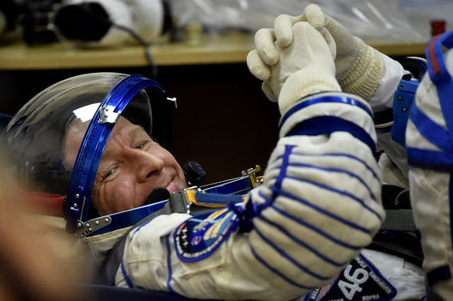 <p>Astronaut Tim Peake in his space suit prior to blasting off to the International Space Station in 2015</p>