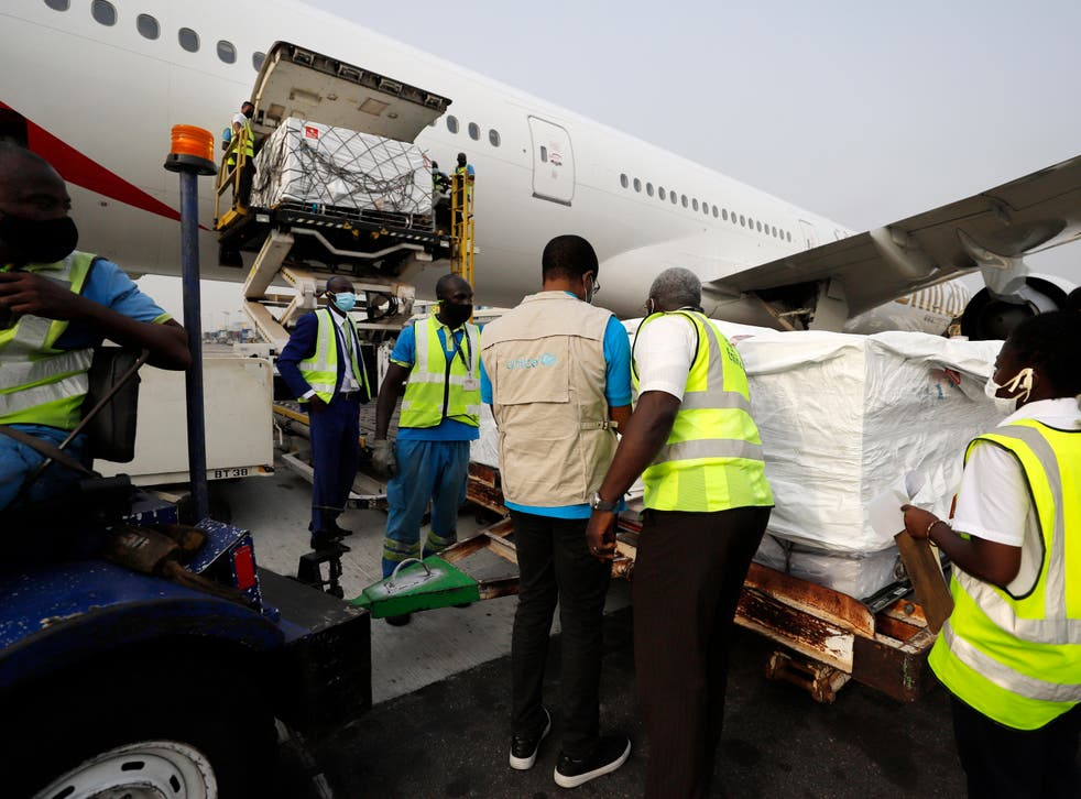 <p>Covid vaccines distributed by Covax arrive at  Kotoka International Airport, Accra</p>
