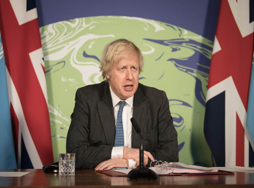 Prime Minister Boris Johnson chairs a session of the UN Security Council on climate and security at the Foreign, Commonwealth and Development Office on 23 February, 2021