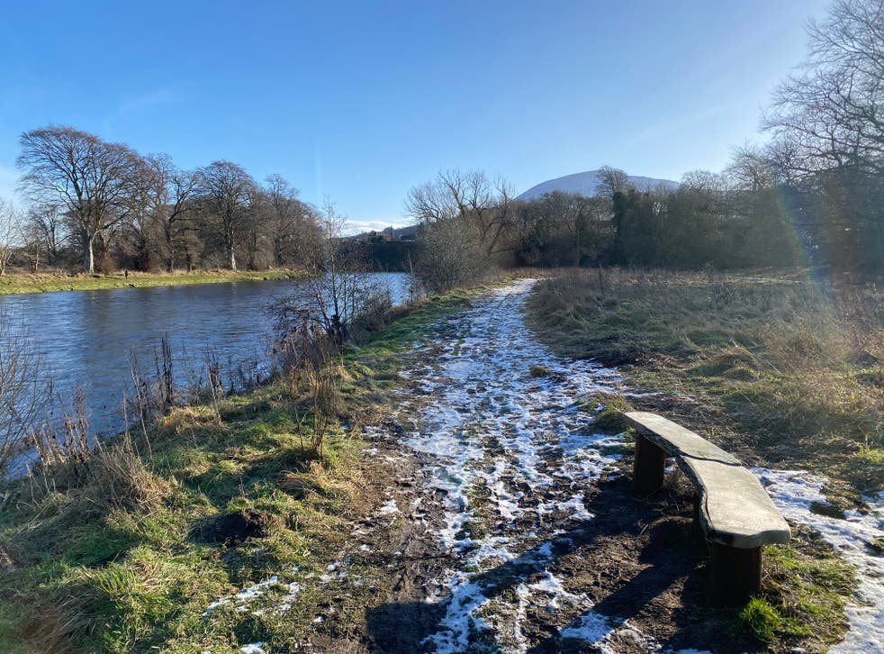 <p>Walking by the banks of the River Tweed</p>