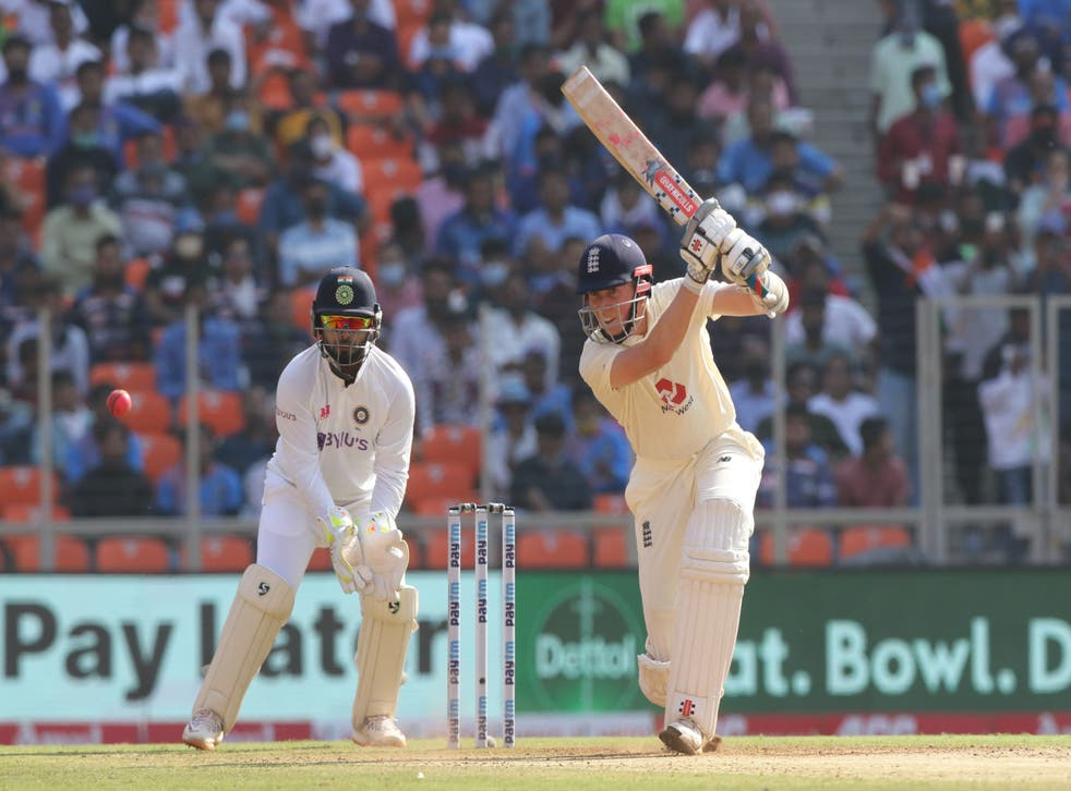 <p>Zak Crawley of England  plays a shot during day one of the third test</p>