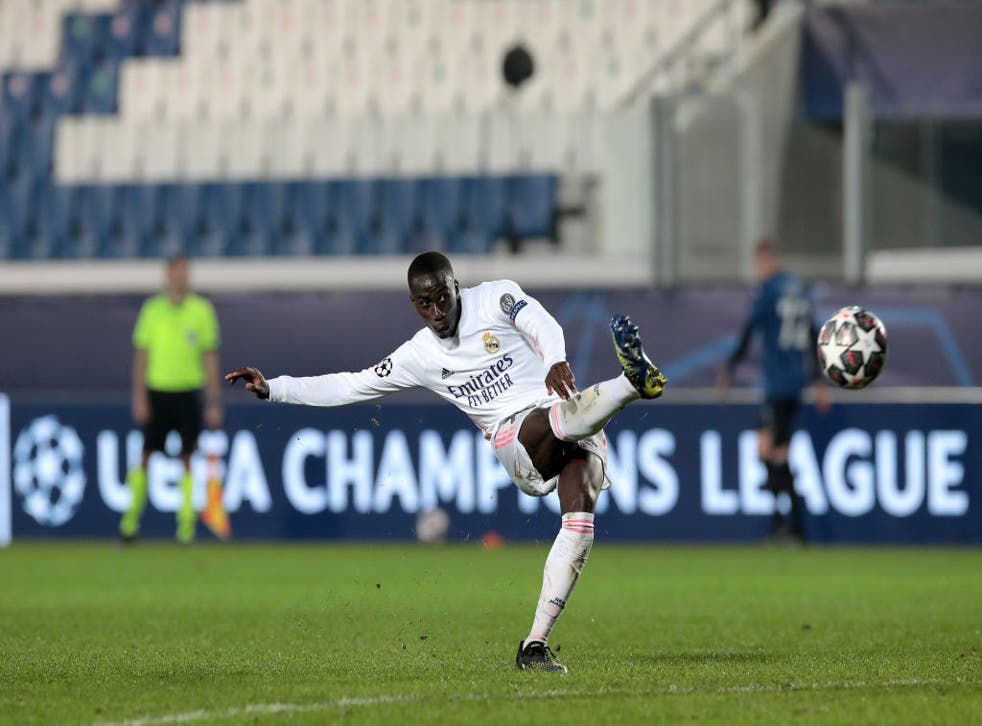 <p>Ferland Mendy of Real Madrid scores the winner for Los Blancos</p>