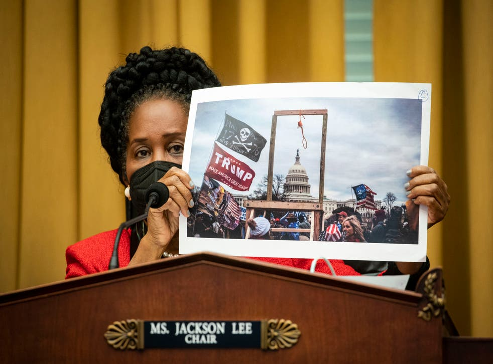 <p>Sheila Jackson Lee holds a photo of the crowd at the 6 January insurrection  during a House committee hearing on 24 February.</p>