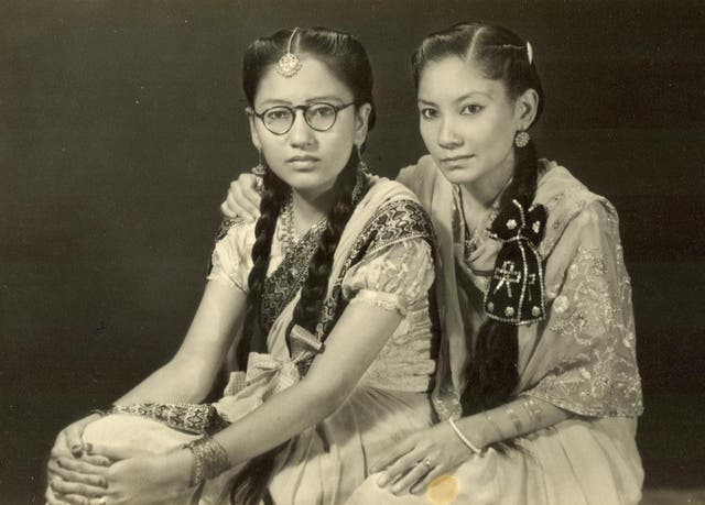 <p>Mehrunnisa Najma (right) in her youth</p>