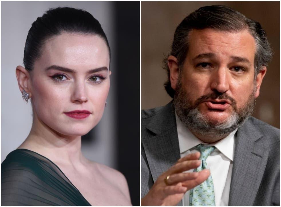 Star Wars actor Daisy Ridley and US senator Ted Cruz