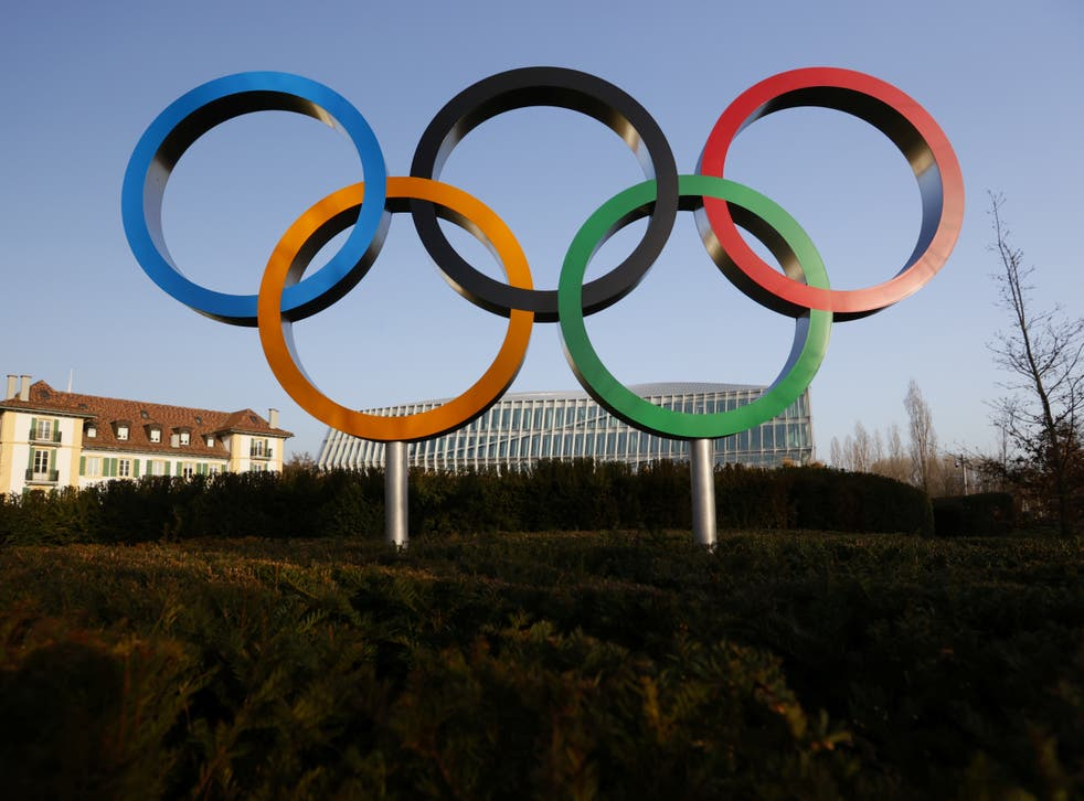 General view of the Olympic rings