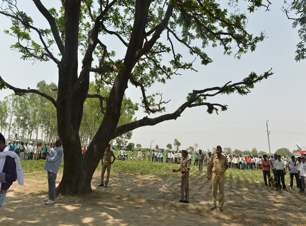 <p>Indian police keep watch at the tree where the bodies of the victims were found hanging, in Budaun district, Uttar Pradesh</p>