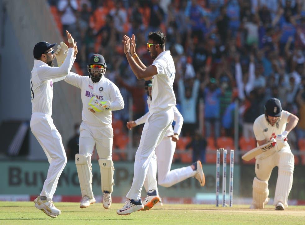 Axar Patel of India celebrates the wicket of Jonny Bairstow
