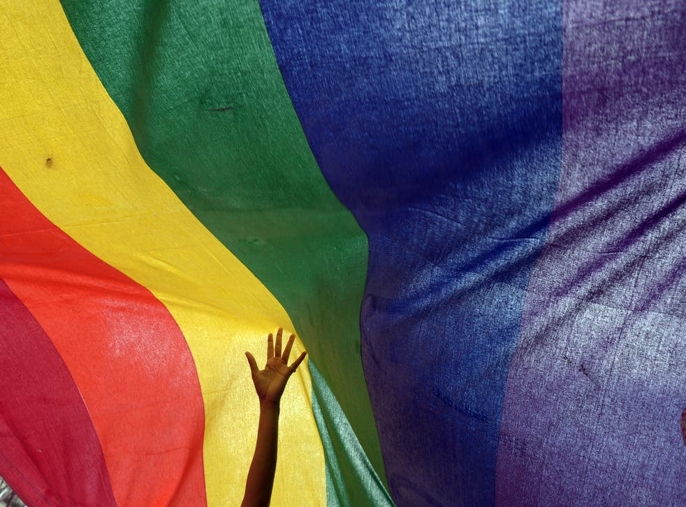 <p>File Image: An Indian sexual minority community member gestures over a rainbow flag while participating in a Rainbow Pride Walk in Kolkata on 7 July 2013</p>