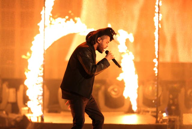 <p>FILE - In this Sunday, Nov. 22, 2015, file photo, the Weeknd performs at the American Music Awards at the Microsoft Theater in Los Angeles. </p>