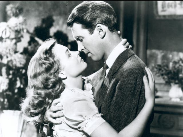 <p>Donna Reed and James Stewart in 'It's a Wonderful Life'</p>