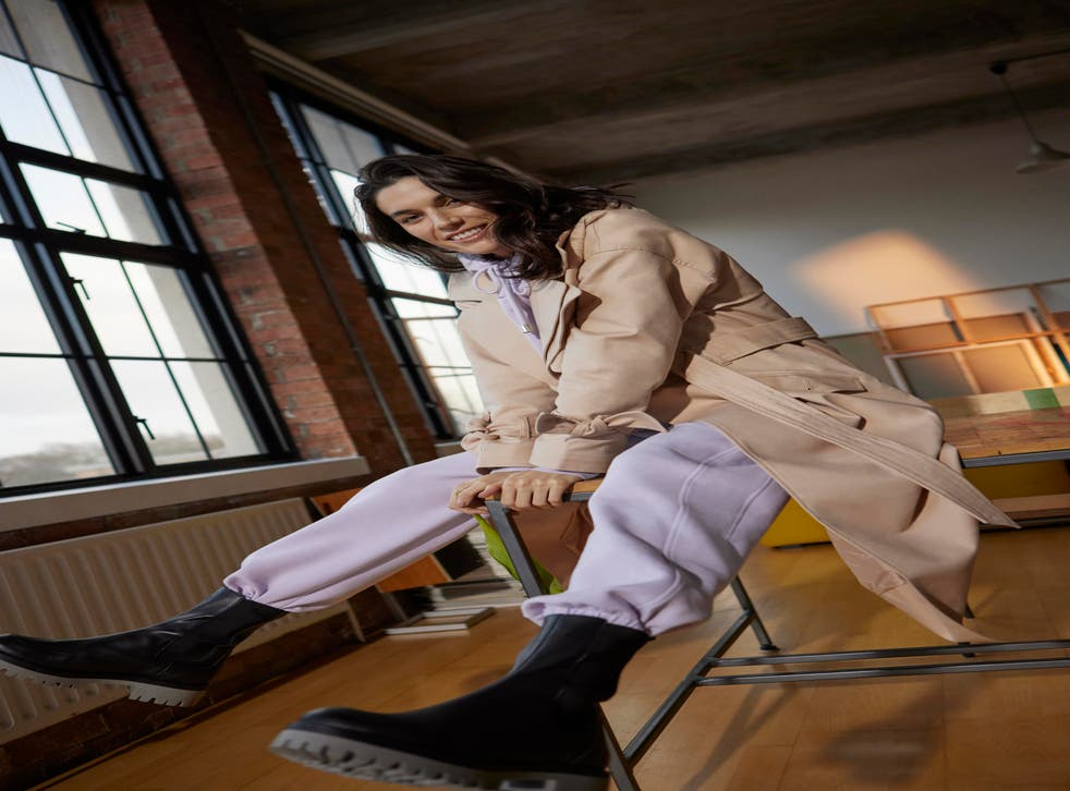 River Island Trench Coat, £100; Hoodie in Lilac, £40; Joggers in Lilac, £35; Boots, £50 [available February 25]