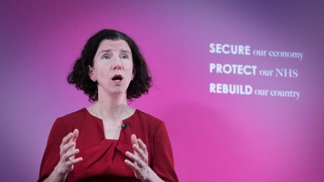Shadow chancellor Anneliese Dodds delivers a pre-Budget speech to the Institute of Global Prosperity at Labour Party headquarters in London