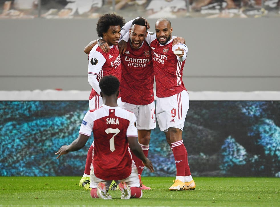 Arsenal Vs Benfica Result Pierre Emerick Aubameyang Fires Gunners To Europa League Comeback Win The Independent