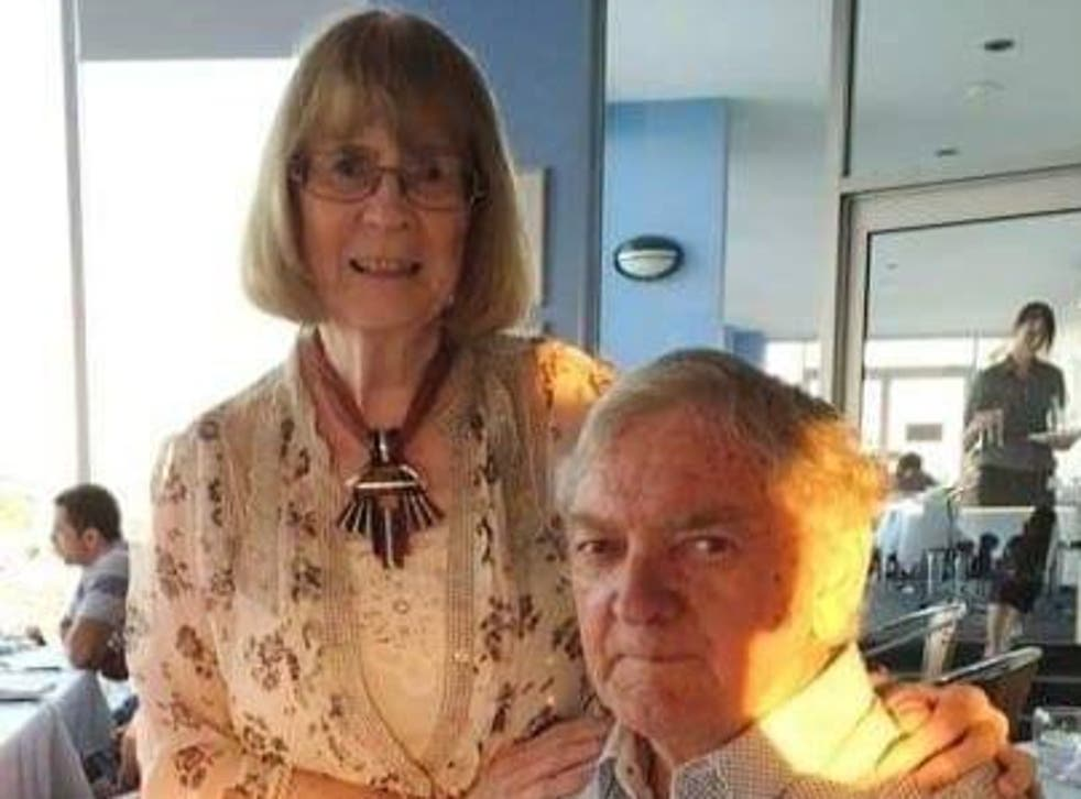 <p>Rita Rich-Mulcahy, 81, and her late husband John Mulcahy. Facebook has apologised after it attempted to ban the widow over pig-related comments the platform mistook for 'hate speech'</p>