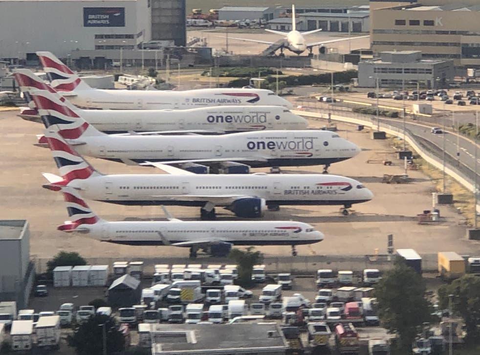 Departing soon: three British Airways 747s (top) awaiting disposal at Heathrow