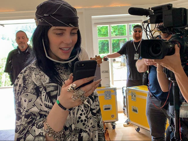 Billie Eilish being filmed for her documentary