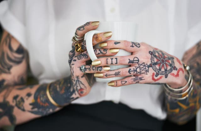 <p>One of many Marilyn Manson-inspired pieces of body art.</p>
