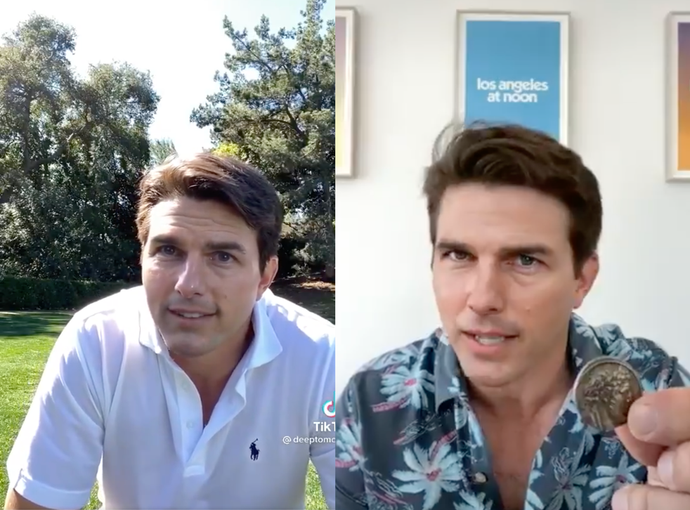 <p>Two stills from last week's viral Tom Cruise deepfakes</p>