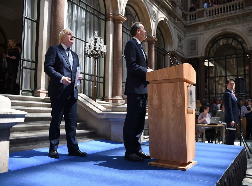 Boris Johnson alongside Sir Simon McDonald at the Foreign Office, July 2016