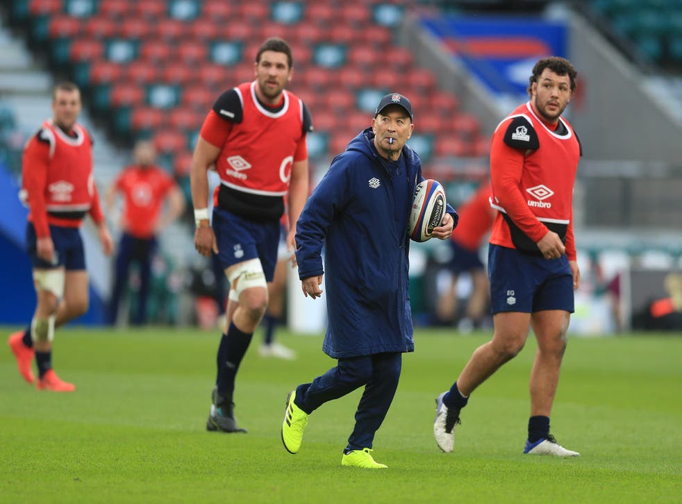 Eddie Jones looks on during an England rugby training session