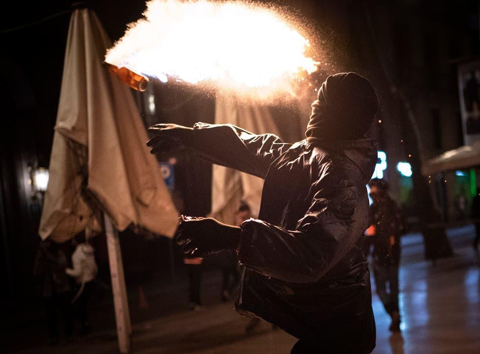 Spain Rapper Protests