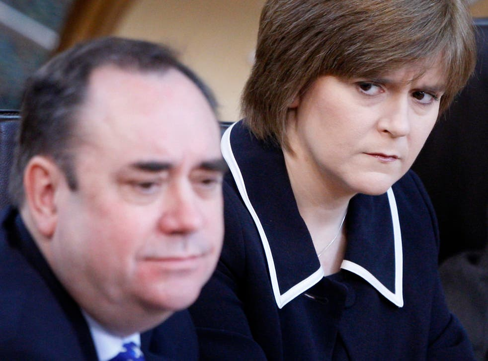 <p>Pictured in 2010, the then first minister Alex Salmond and his deputy Nicola Sturgeon at the Scottish parliament in Edinburgh</p>