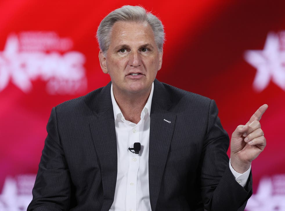 Kevin McCarthy participates in a discussion during CPAC on February 27, 2021 in Orlando, Florida.