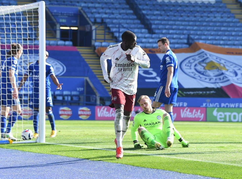 Nicolas Pepe celebrates after scoring Arsenal's third