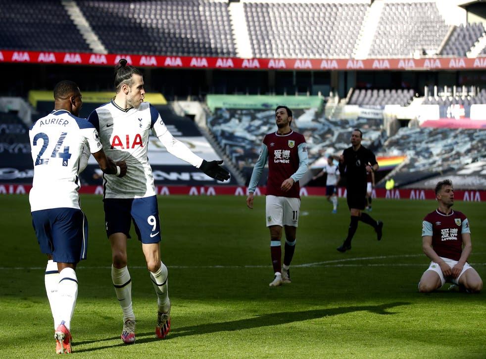 Gareth Bale celebrates after scoring Spurs' fourth