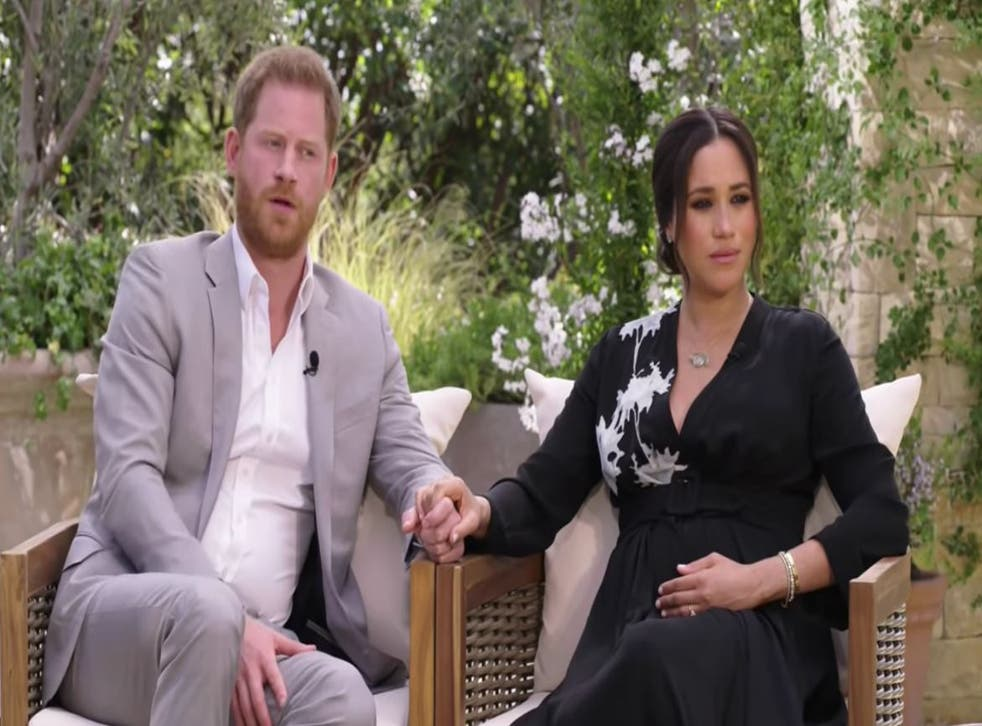 <p>Prince Harry and Meghan being interviewed by Oprah Winfrey </p>