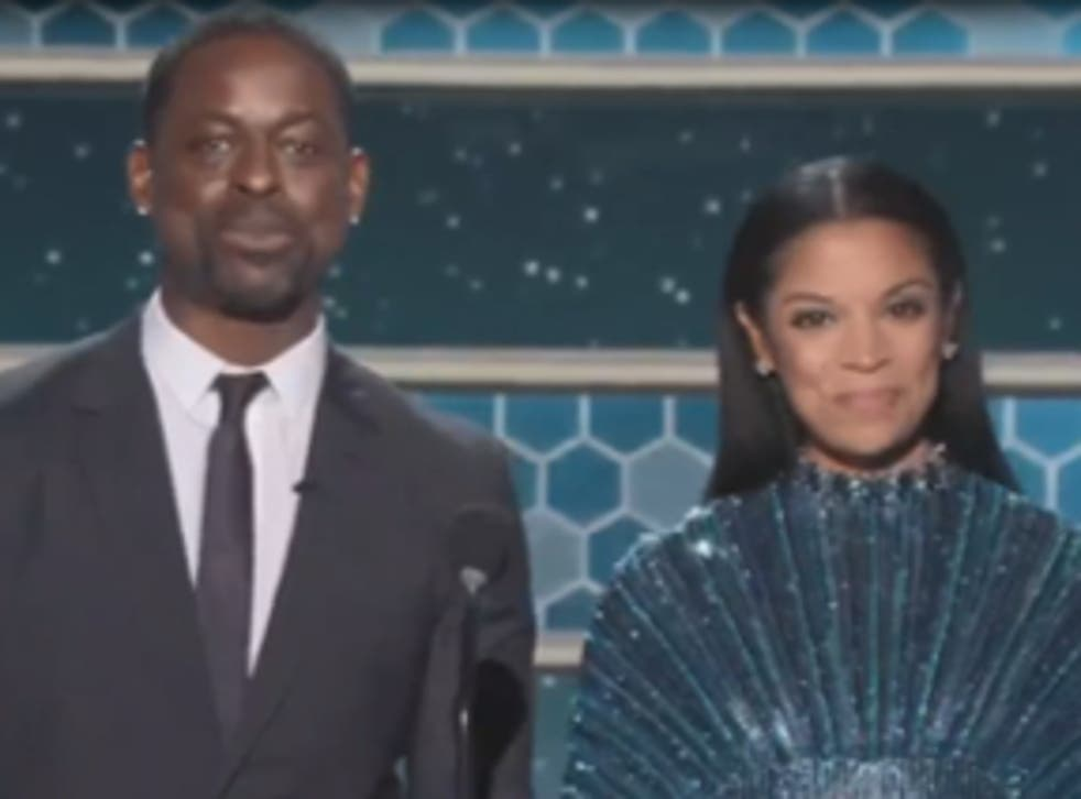 <p>Sterling K Brown and Susan Kelechi Watson at the Golden Globes</p>