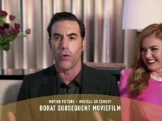 Sacha Baron Cohen mocks 'comedy genius' Rudy Giuliani in Golden Globes acceptance speech