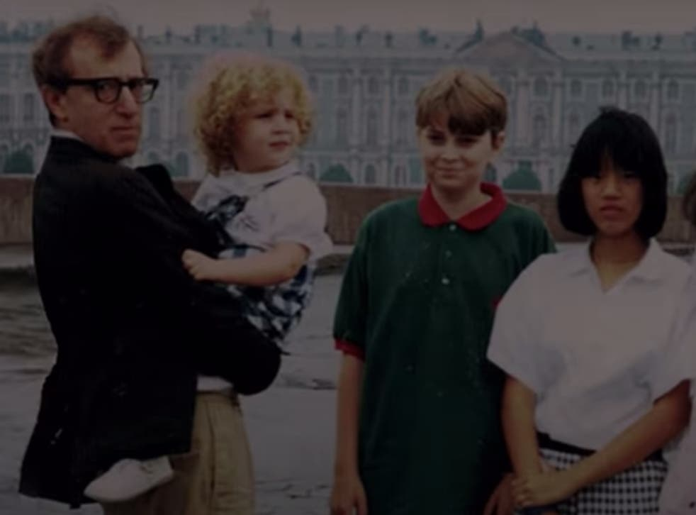 <p>An old photograph of Woody Allen is holding young Dylan Farrow featured in the teaser of HBO's documentary </p>