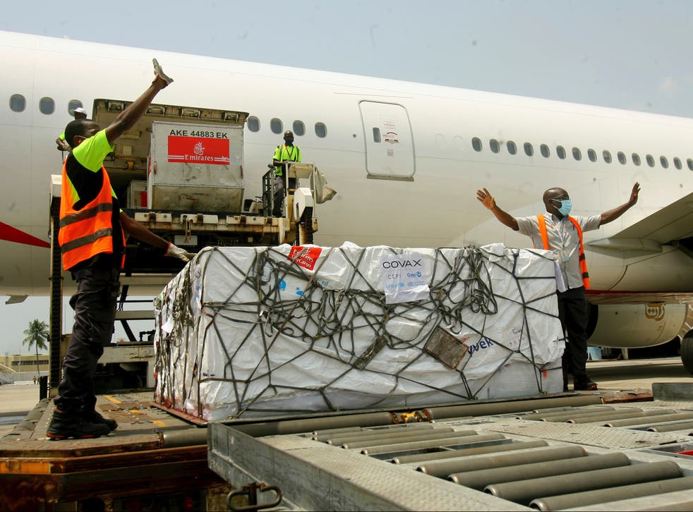 A shipment of Covid-19 vaccines distributed by the Covax facility arrives in Abidjan, Ivory Coast, on Friday 25 February