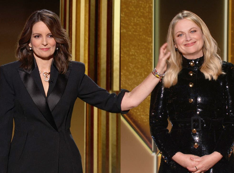 A human touch: Tina Fey and Amy Poehler digitally co-hosting the Golden Globes last night