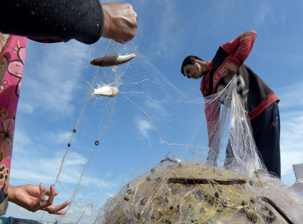 <p>Cambodian fisherman Sles Hiet lives at the mercy of the Mekong</p>