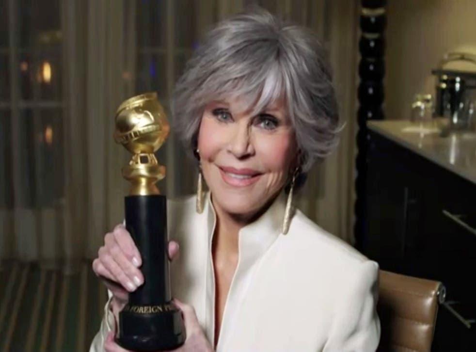 <p>Jane Fonda with her Cecil B DeMille Lifetime Achievement Award</p>