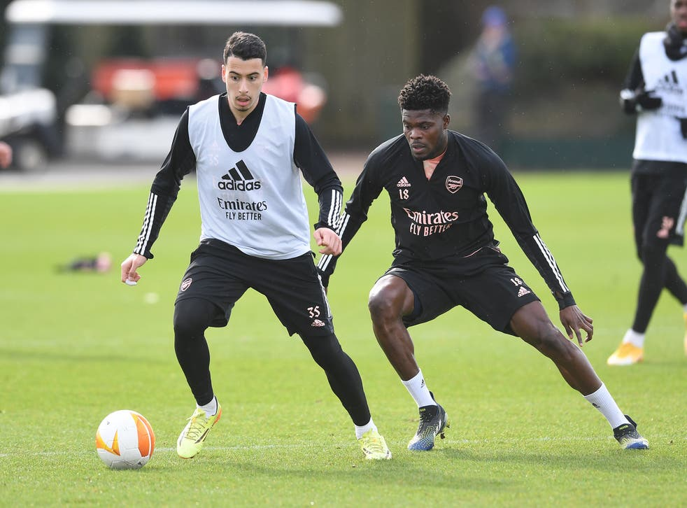 Gabriel Martinelli in training last week