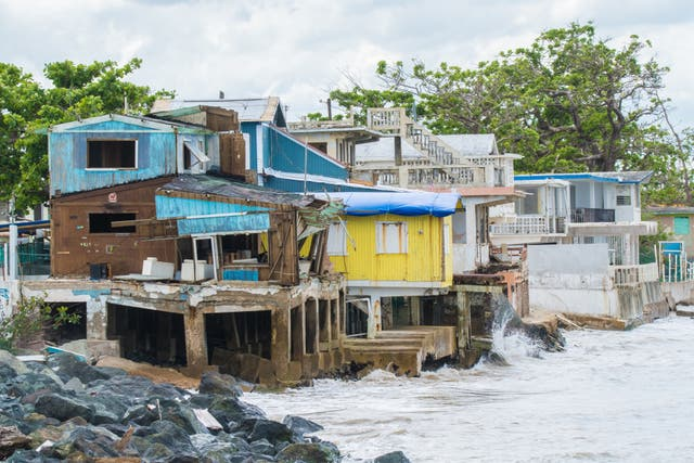 <p>Seaside scene in Rincon, Puerto Rico after Hurricane Maria in 2017. Today a new report claims that the Trump administration delayed financial aid</p>