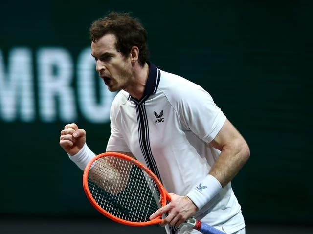<p>ROTTERDAM, PAÍSES BAJOS - 01 DE MARZO: Andy Murray de Gran Bretaña celebra ganar su partido contra Robin Haase de Holanda durante el día 1 del 48o Torneo Mundial de Tenis ABN AMRO en Ahoy el 01 de marzo de 2021 en Rotterdam, Países Bajos. </p>