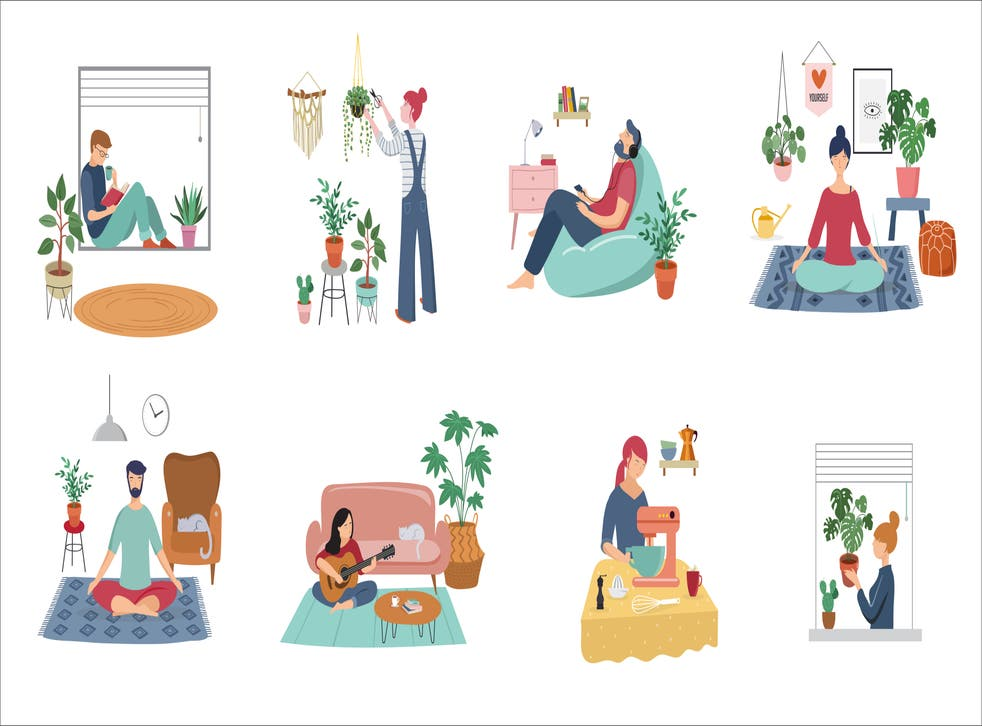 Illustrated image of people relaxing at home doing various activities
