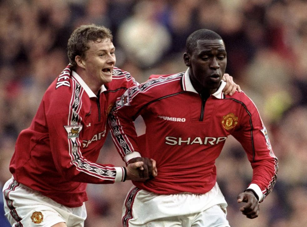Andy Cole (right) celebrates with Ole Gunnar Solskjaer in 1999