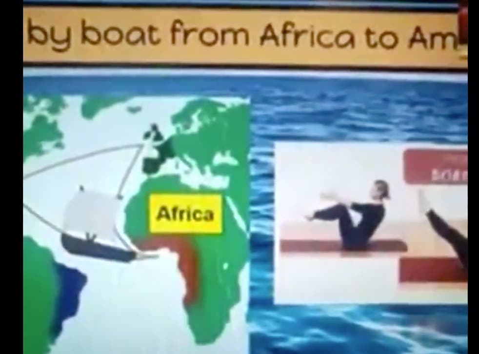 The teacher attempted to combine yoga poses with a history lesson on slavery