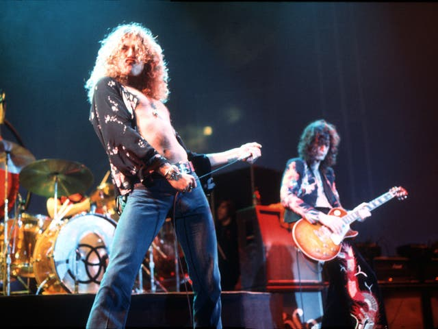 Robert Plant and Jimmy Page on stage