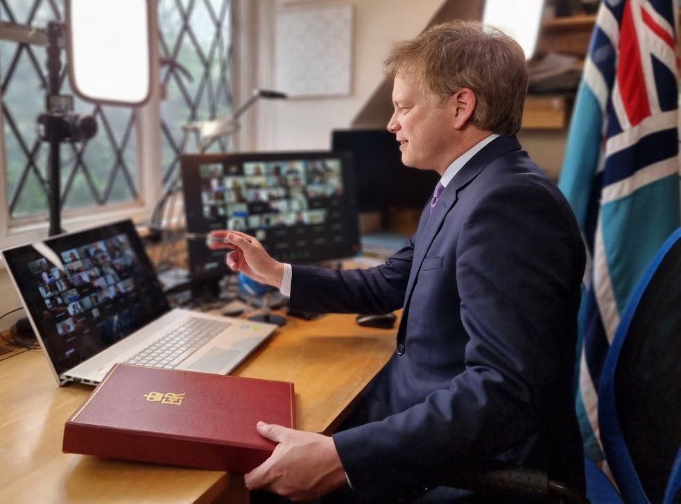 Action stations: the transport secretary, Grant Shapps, chairing a meeting of the Global Travel Taskforce